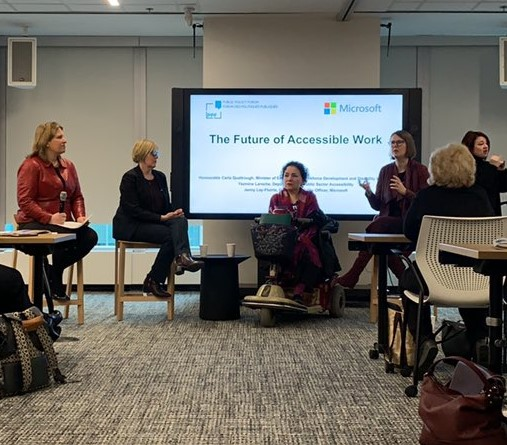 Figure 2: Yazmine and the panel discuss the future of accessible work at the PPF event.